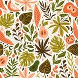 Leuk in ontwerp voor stof, behang, omslagdocument Skandinavische stijl herhaalde achtergrond met bladeren en tropische vruchten V vector illustratie