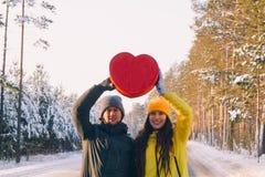 Leuk paar in liefde in de winter openlucht stock foto's