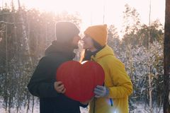 Leuk paar in liefde in de winter openlucht royalty-vrije stock foto