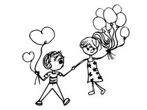 Leuk paar met hartballon vector illustratie