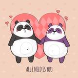 Leuk paar van panda's in liefde Stock Illustratie