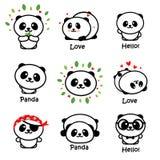Leuk Panda Asian Bear Vector Illustrations, Inzameling van Chinese Dieren Eenvoudig Logo Elements, Zwart-witte Pictogrammen Stock Afbeelding