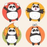 Leuk Panda Character met verschillende emoties Stock Illustratie