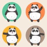 Leuk Panda Character met verschillende emoties Vector Illustratie