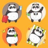 Leuk Panda Character met verschillende emoties Stock Fotografie