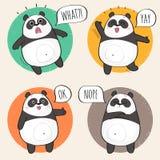 Leuk Panda Character met verschillende emoties Stock Foto