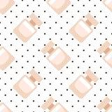 Leuk parfum, het naadloze patroon van de geurfles op zwart-wit gestippelde achtergrond Royalty-vrije Stock Foto's