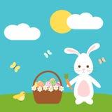Leuk Pasen-beeldverhaal met de mooie vogel van het konijntjeskonijn en eimand in de weide Royalty-vrije Stock Afbeeldingen