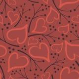 Leuk patroon van harten en takjes Stock Fotografie