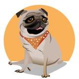 Leuk portret van pug stock illustratie