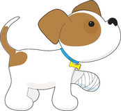 Leuk Puppy met de Hoed en de Boom van de Kerstman Stock Fotografie
