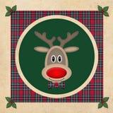 Leuk rendier in groene cirkel met rood plaidpatroon, op oude document achtergrond, het ontwerp van de Kerstmiskaart Royalty-vrije Stock Fotografie