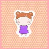 Leuk Rood de Babymeisje van het Haarbeeldverhaal Royalty-vrije Stock Foto