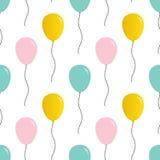 Leuk roze, naadloze het patroonachtergrond van munt groene en gouden ballons Stock Foto's
