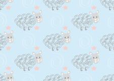 Leuk schapen naadloos patroon op roze stippenachtergrond Stock Afbeelding