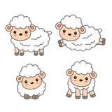 Leuk schapenbeeldverhaal Vectorillustratie voor Jonge geitjes stock illustratie