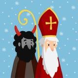 Leuk Sinterklaas met duivel en dalende sneeuw De kaart van de Kerstmisuitnodiging, vectorillustratie, de winterachtergrond stock illustratie