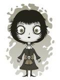 Leuk somber meisje vector illustratie