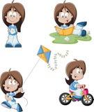 Leuk speels beeldverhaalmeisje stock illustratie