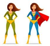 Leuk superwoman beeldverhaal Stock Foto's
