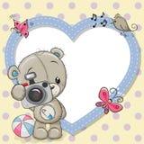 Leuk Teddy Bear met een camera en een hartkader royalty-vrije illustratie