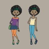 Leuk tienermeisje in twee manieruitrustingen Lichaamsmalplaatje Vector illustratie Stock Afbeelding
