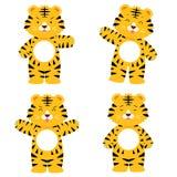 Leuk tijgerkarakter in 4 acterenreeks Vector Illustratie