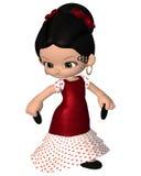 Leuk Toon Spanish Flamenco Dancer Stock Foto's