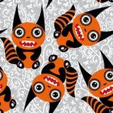 Leuk tsartoon oranje monster met een gestreept staart naadloos patroon Royalty-vrije Stock Foto's