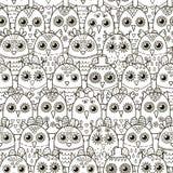 Leuk uilen naadloos patroon Zwart-witte achtergrond Royalty-vrije Stock Afbeeldingen