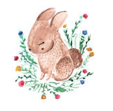Leuk uiterst klein konijn Zoet konijntje, weinig haas met bloemen Waterverfillustratie voor jonge geitjes en babysmanier Stock Afbeeldingen