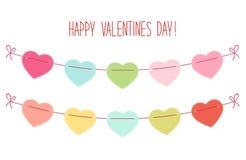 Leuk uitstekend hart gestalte gegeven bunting vlaggenideaal voor Valentijnskaarten Dag enz. royalty-vrije illustratie