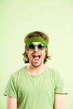 De grappige van de de mensen hoge definitie van het mensenportret echte groene achtergrond stock fotografie