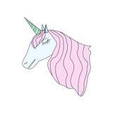 Leuk Unicorn Isolated op Witte Vectorillustratie Als achtergrond Stock Afbeelding