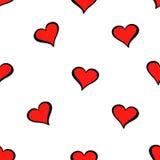 Leuk valentijnskaarts naadloos patroon met harten Stock Afbeeldingen