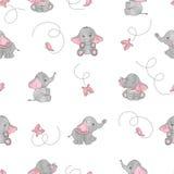 Leuk van beeldverhaalolifanten en vlinders naadloos vectorpatroon Royalty-vrije Stock Foto