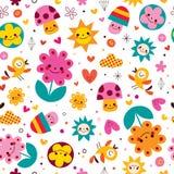 Leuk van van van beeldverhaalpaddestoelen, bloemen, harten & vogels aard naadloos patroon Stock Foto
