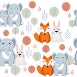 Leuk vector dierlijk naadloos patroon met olifant, vos, konijn Royalty-vrije Stock Afbeelding