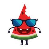 Leuk vector het ontwerpbeeldverhaal van het watermeloenkarakter Royalty-vrije Stock Foto