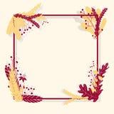 Leuk vector kleurrijk kader met bladeren ter beschikking getrokken stijl Malplaatje voor ontwerp royalty-vrije illustratie