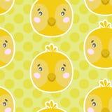 Leuk vector naadloos patroon met kippengezicht Op groene gestippelde achtergrond royalty-vrije illustratie