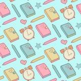 Leuk vector naadloos patroon met notitieboekje, wekker enz. Schoolelementen, kinderachtige achtergrond vector illustratie