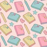 Leuk vector naadloos patroon met notitieboekje, wekker enz. Schoolelementen, kinderachtige achtergrond stock illustratie