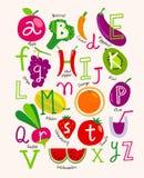Leuk vector vegetarisch alfabet met vruchten en groenten Royalty-vrije Stock Foto's