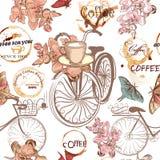 Leuk vectorpatroon met valse fietsen en bloemen Stock Afbeeldingen
