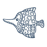 Leuk vissenbeeldverhaal, lijnkunst, het kleuren Royalty-vrije Stock Fotografie