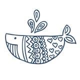 Leuk vissenbeeldverhaal, lijnkunst, het kleuren Royalty-vrije Stock Afbeelding
