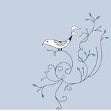 Leuk vogel en wervelingskaartontwerp royalty-vrije stock afbeeldingen