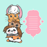 Leuk vos, panda, uil, kat en konijntje Stock Afbeelding