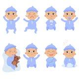 Leuk weinig baby in footies met verschillende emoties stock illustratie